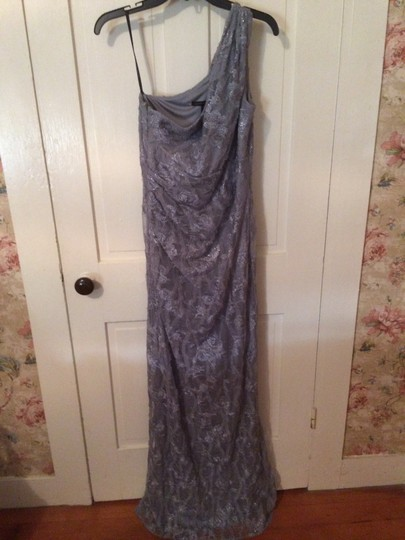 David Meister Silver 90% Polyester 10% Metallic Lining Lace Covering Gown Formal Bridesmaid/Mob Dress Size 6 (S)