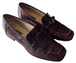 Sesto Meucci Leather Mahogany Tie Loafer Flats