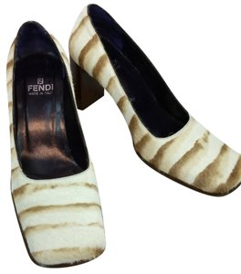 Fendi Animal Print Calf Hair Heels BEIGE/BROWN Pumps