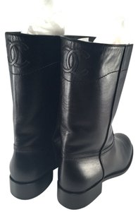 Chanel Cc Logo Leather Winter Riding 40 black Boots