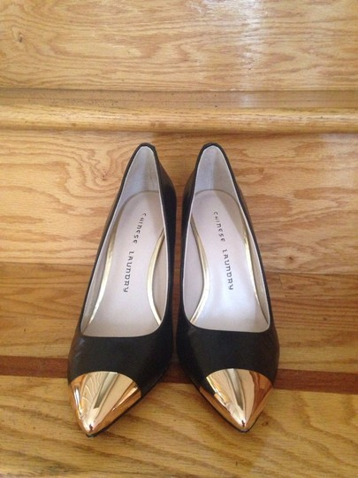 Chinese Laundry Black, Gold Pumps