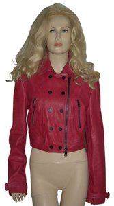 Burberry Biker Leather Cropped Moto Fuchsia Leather Jacket