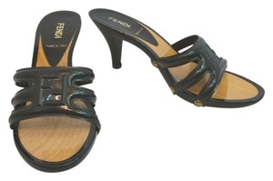Fendi Wooden Heels Slides BLACK Sandals