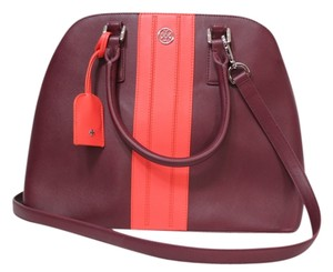 Tory Burch Leather Robinson Open Dome Stripe Burgundy Coral Satchel in Plum