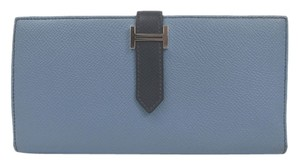 Hermès Auth HERMES Bearn Suffle Bifold Long Wallet Epsom Blue hydra (BF087661)