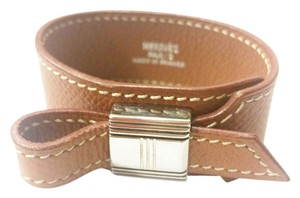 Hermès Authentic Hermes Artemis Brown Wide Leather Bracelet