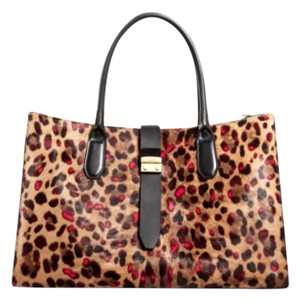 Furla Tote in Tony pinky onyx black brown leopard animal print
