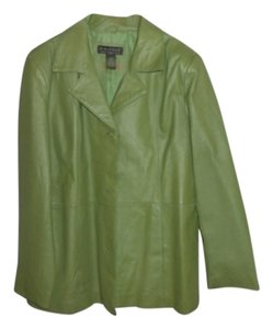 Dialogue Leather Coat Lime Green Blazer