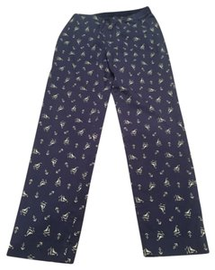 Uniqlo Skinny Pants Navy blue with white sail boat pattern