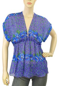 Roberto Cavalli Print Spring Paisley Floral Top Blue