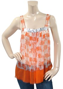 Rozae Nichols Silk Print Spring Sheer Metallic Chiffon Top Orange, Ivory,