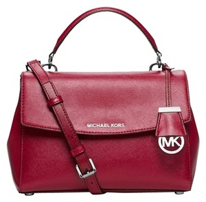 Michael Kors New Leather Satchel in Cherry/Red