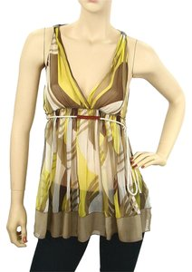 04f9cf3068d94 Rozae Nichols Print Sheer Silk Empire Waist V-neck Leather Top Yellow