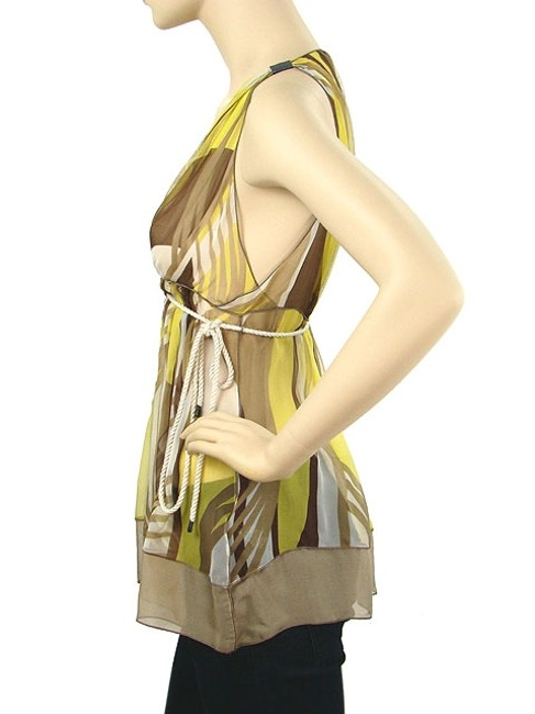 Rozae Nichols Print Sheer Silk Empire Waist V-neck Leather Top Yellow, Ivory, Brown