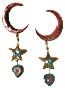 Large Moon Star And Heart Post Earrings