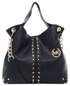 Michael Kors Uptown Astor Studded Gold Leather Satchel in Black