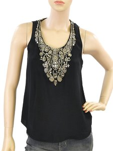 Sachin + Babi Chain Crystal Stone Sleeveless Silk Top Black