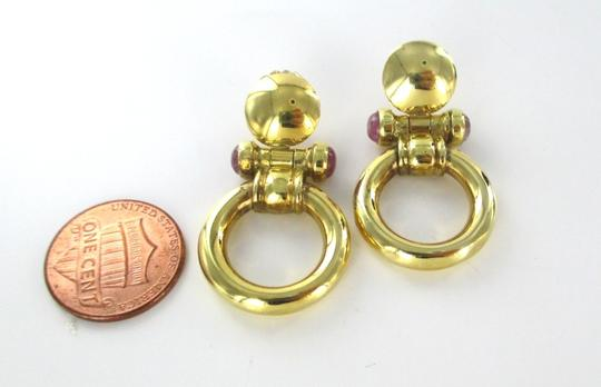 Other 18KT SOLID YELLOW GOLD EARRINGS CABOCHON AMETHYST