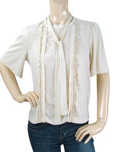 See by Chloe Ruffle Lace Trim Cotton Silk Top Cream, Ivory, Beige