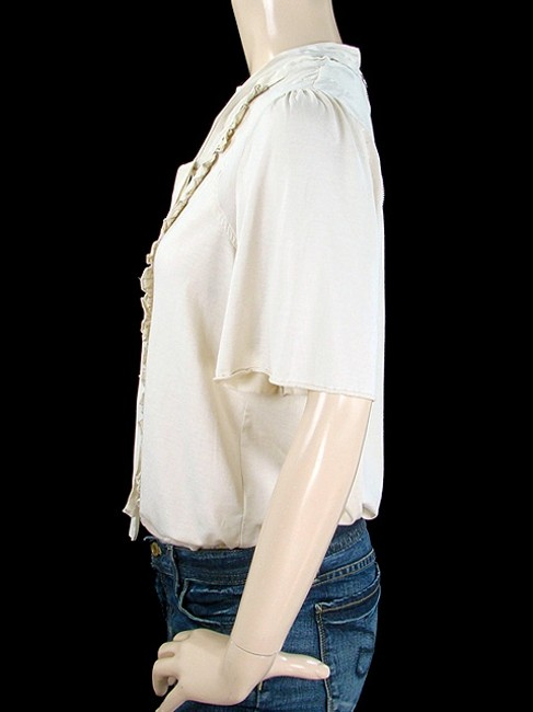 See by Chloé Ruffle Lace Trim Cotton Silk Top Cream, Ivory, Beige