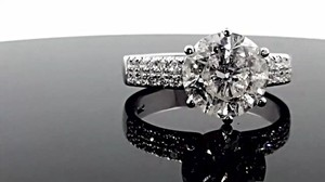 3.19 Ct F/si1 Round Diamond Solitaire Engagement Ring 14 K White Gold