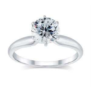 1.01 Ct D/si1 Round Diamond Solitaire Engagement Ring 14 K White Gold