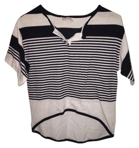 Complex 80s Asymmetrical Top Black & White Striped