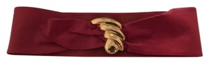 Authentic 80s Waist Cinching Red Leather Belt with Gold Detail