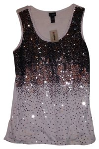 Daytrip Top White With Dark Grey And Silver Sequins