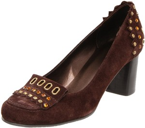 Vaneli Suede Studded Rhinestones Womens Size6 Brown Pumps