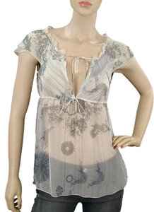 Stella McCartney Sheer Floral Print Silk Top Grey