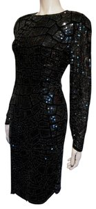Oleg Cassini Sequin Evening Lbd Black Dress