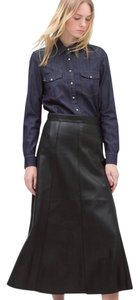 Zara Faux Leather Leather Long Skirt Black