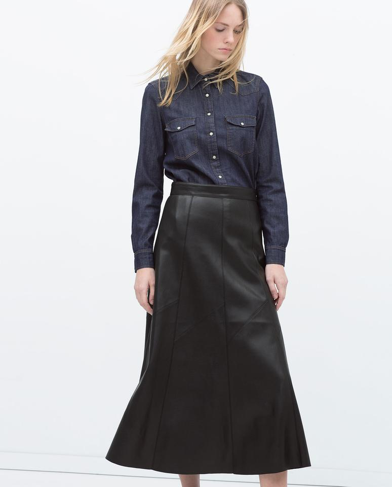 Zara New!! Tags Leather Long Nwt S! Skirt