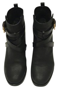 Tory Burch Leather Strap Black Boots