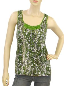 Tory Burch Silk A-line Metallic Sleeveless Top Green