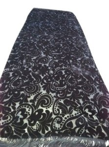 Other Black Sheer Jaquard Silk Velvet Finish Scarf