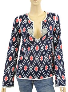 Tory Burch Print Tunic Metallic Applique Beaded Top Blue, Red, White