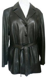 Nine West Size: Xl Attached Straps Side Leather Leather Jacket