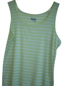Basic Editions T-shirt Sleeveless Top Lime Green / White