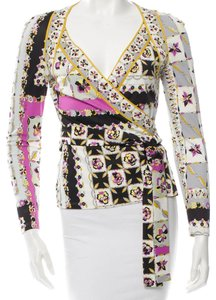 Emilio Pucci Green Multicolor New Silk Longsleeve V-neck Belted Wrap S Small 6 40 4 Top Grey, Black, Yellow, White, Pink