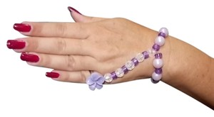 Handmade Handmade Beaded Hand Jewelry Purple & Crystal