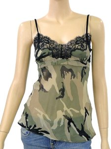 Twin-Set by Simona Barbieri Lace Lace Trim Sheer Camouflage Empire Waist Silk Top Green, Olive, Black