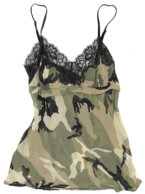 Twin-Set by Simona Barbieri Lace Lace Trim Camisole Sheer Camouflage Empire Waist Silk Top Green, Olive, Black