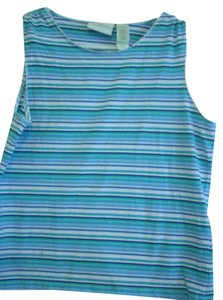 Liz Claiborne Sport Aerobics Yoga Casual Wear Summer Beach Trendy Top Blue /white