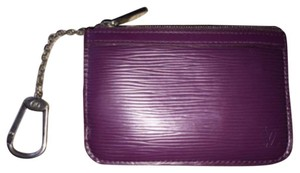 Louis Vuitton Auth Louis Vuitton Cassis Epi Purple Key Pouch Cles Keychain NM Card Holder Like Figue Violet Leather