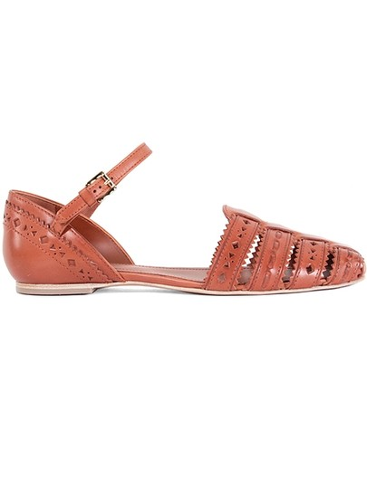 Tod's Perforated Leather Cut-out Gold Hardware Summer Rust, Orange Sandals