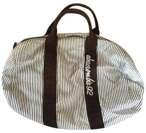 Abercrombie & Fitch White And Brown With Stripes Travel Bag