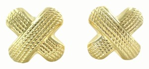 14KT YELLOW GOLD EARRINGS X DESIGN