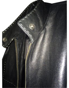 Giorgio Armani BLACK/WHITE STITCHING Leather Jacket